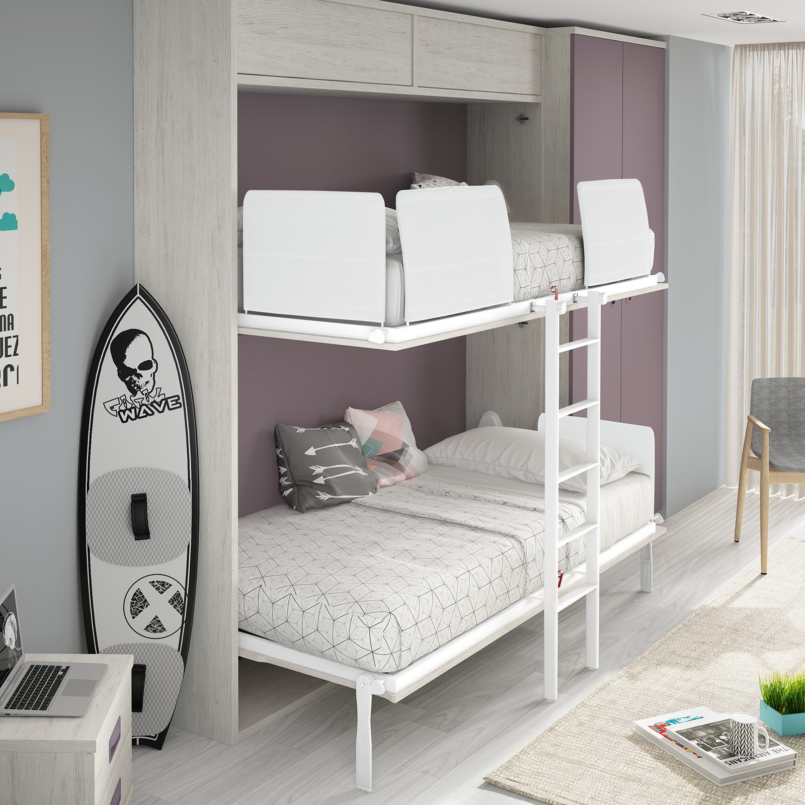 Space wallbed bunk bed the london wallbed company - Muebles con cama plegable ...